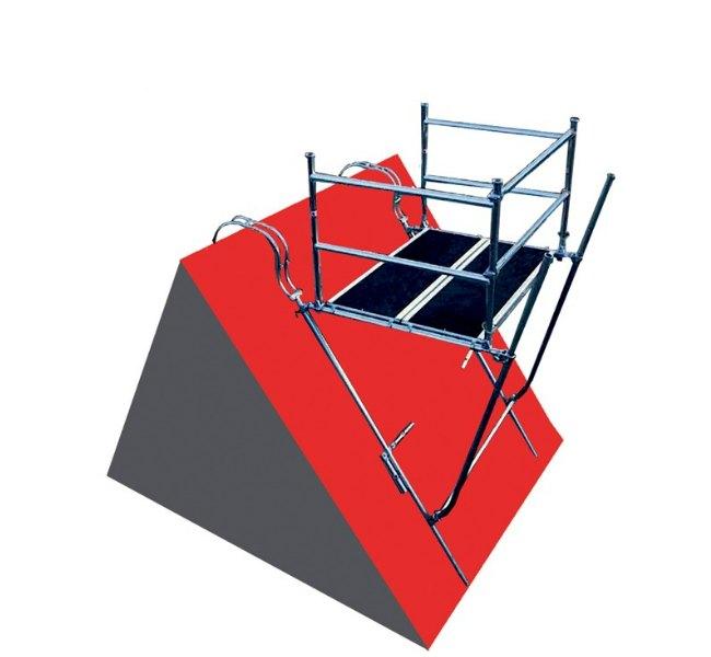 Et skortensstillads er den sikreste løsning, når man skal arbejde på husets skortsten eller øverste tegl.